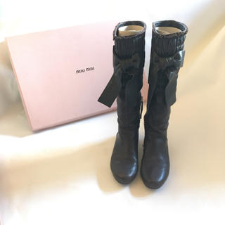 ミュウミュウ(miumiu)のミュウミュウ♡リボンブーツ(ブーツ)