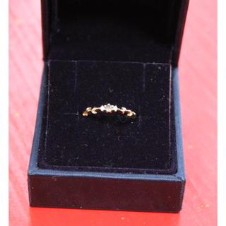 アガット(agete)のアガット K10 YG ダイヤ アクアマリン ピンキー リング(リング(指輪))