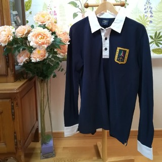 アエロナウティカミリターレ(AERONAUTICA MILITARE)の✨AERONAUTICA MILITARE 紺色の長袖ポロシャツLサイズ♪(ポロシャツ)