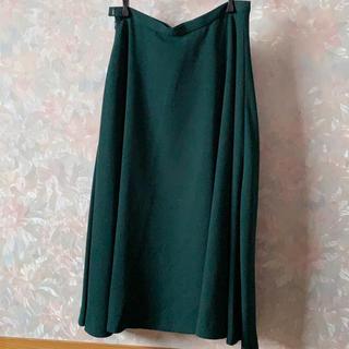 アウラアイラ(AULA AILA)のミモレ丈スカート グリーン(ひざ丈スカート)