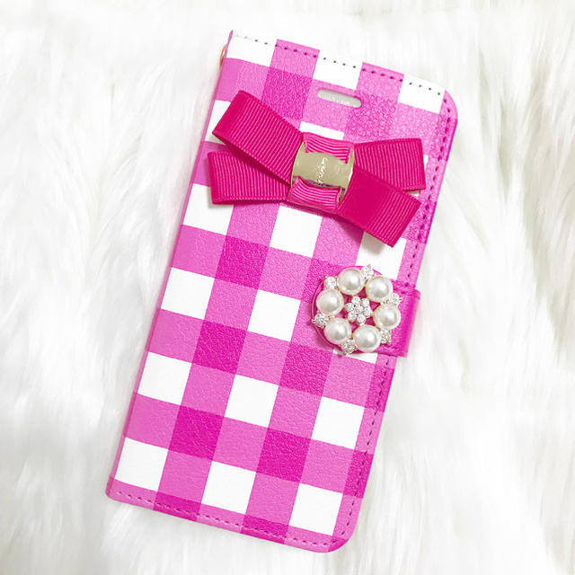 iphone7 ヴィトン ケース | iPhoneケース スマホケース 手帳型 全機種対応 ピンク ギンガム リボンの通販 by DearMerry|ラクマ