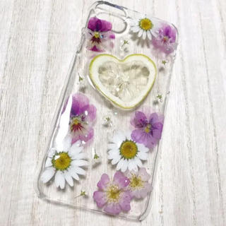 ♡受注生産 ハートレモン iPhoneケース 押しフルーツ 押し花♡(スマホケース)