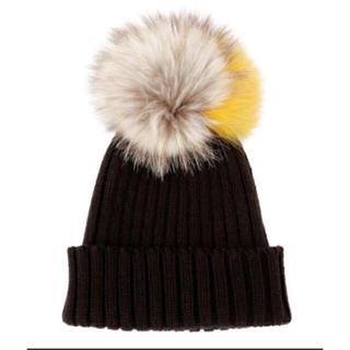 ルシェルブルー(LE CIEL BLEU)の新品未使用ルシェルブルー ファーポンポンニット帽(ニット帽/ビーニー)