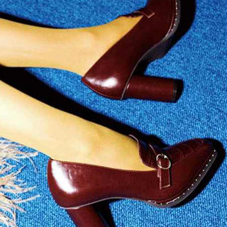 ランダ(RANDA)のカシメヒールアップシューズ(ローファー/革靴)
