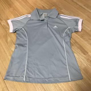 アディダス(adidas)のアディダス adidas テニスウェア ポロシャツ グレー ピンク(ウェア)