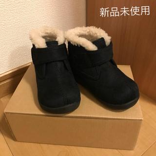 ムジルシリョウヒン(MUJI (無印良品))の14cm ベビー 黒 ボア使い ハイカットシューズ 無印良品(ブーツ)