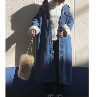 ジーユー(GU)のボアデニムロングコート GU(毛皮/ファーコート)