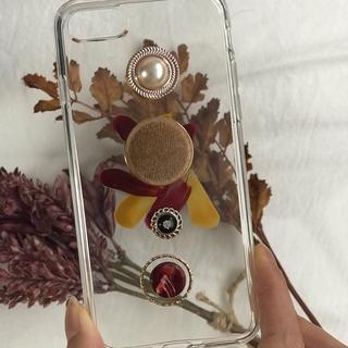 ニコアンド(niko and...)のred retoro paint iPhone case handmade(スマホケース)