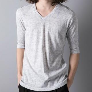 ガルヴァナイズ(Galvanize)のgalvanize 杢Vネック5分 Tシャツ ホワイト(Tシャツ/カットソー(半袖/袖なし))