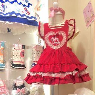 シャーリーテンプル(Shirley Temple)のハート胸当て付きワンピース(赤)100cm (95-105cm)(ワンピース)