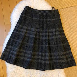 バーバリー(BURBERRY)の美品本物バーバリーBurberry上質ウールアルパカ混チェック柄スカート(ひざ丈スカート)