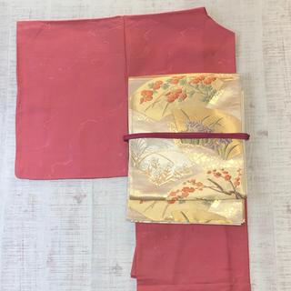 正絹。袷。ピンク系しつけ付き色無地未使用のお着物(帯は別売り)(着物)