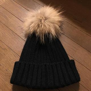 ローズバッド(ROSE BUD)のリアルファーポンポン ニット帽(ニット帽/ビーニー)