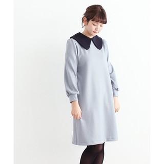 ドットアンドストライプスチャイルドウーマン(Dot&Stripes CHILDWOMAN)の日本製 ウール天竺強圧縮 配色BIG衿OP(ひざ丈ワンピース)