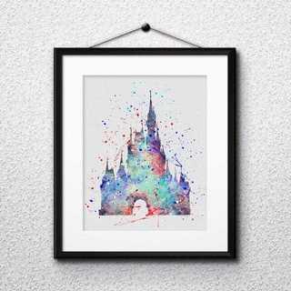 Disney - シンデレラ城(ディズニーランド)アートポスター【額縁付き・送料無料!】