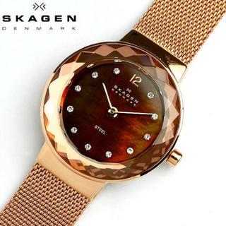 スカーゲン(SKAGEN)のSKAGEN レディースピンクゴールド スワロ♡(腕時計)