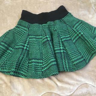 ジーユー(GU)のgu 150*チェック柄 サーキュラースカート*グリーン系(スカート)