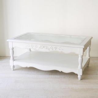 【みく様専用】kino Glass Top Living Table(ローテーブル)