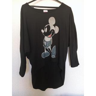 ディズニー(Disney)のミッキー カットソー 黒(カットソー(長袖/七分))