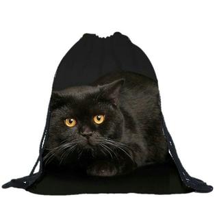 猫巾着袋 黒猫ちゃんかばん ショルダー・バックバッグ♪ 新品未使用品(猫)