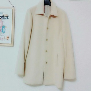 ムジルシリョウヒン(MUJI (無印良品))のアンゴラウール ベージュ色コート(チェスターコート)