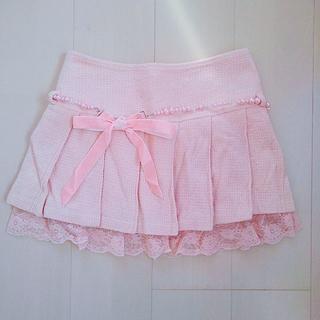 リズリサ(LIZ LISA)のLIZLISA*リボンベルト付ピンクプリーツレーススカート(ミニスカート)