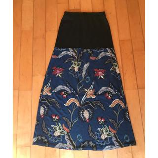 アンティカ(antiqua)のantiqua  スカート 2way花柄リブロングスカート レトロ アート(ロングスカート)