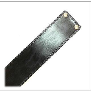 三線 胴巻き ティーガー 高級本牛革 ブラック 革紐飾り:シングルステッチ(三線)