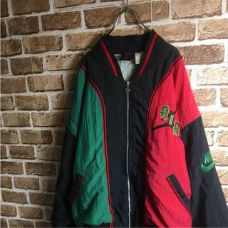 ナイキ(NIKE)の激レア! 90s NIKE JORDAN 中綿 ナイロンジャケット 赤 緑 黒(ナイロンジャケット)
