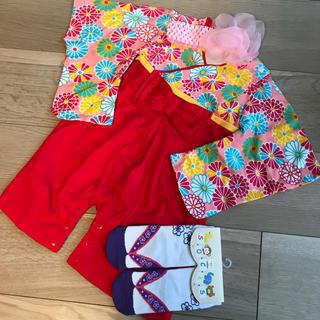 80cm❤︎袴ロンパース迷彩赤&草履風靴下紫9-12cm&ヘアバンド 女の子(和服/着物)