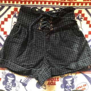 シマムラ(しまむら)の130140ハイウエスト編み上げコーデュロイショートパンツキュロットスカート(スカート)