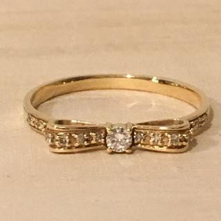 K10PG ダイヤモンド リボンリング(リング(指輪))