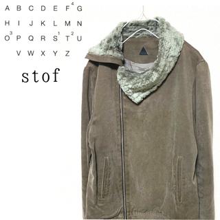 ストフ(stof)のstof バック刺繍ファー付変形ジャケット 日本製 ストフ ririジップ(ブルゾン)