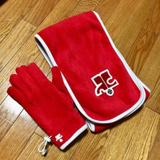 クレージュ(Courreges)のクレージュ マフラー&手袋セット 美品 赤 フリース(マフラー/ショール)