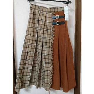 シマムラ(しまむら)のサイドベルト 切り替え プリーツ チェック スカート M(ロングスカート)