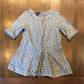 ベビーギャップ(babyGAP)のベビー ギャップ baby gap 水玉 デニムカラー シャツ ワンピース 90(ワンピース)