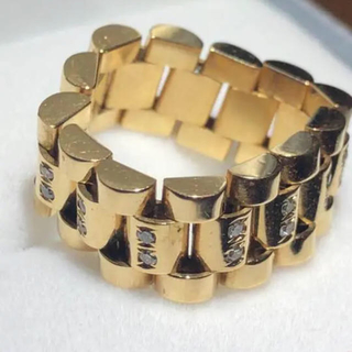 ダイヤモンドリング k18 diamond ring YG 送料込み(リング(指輪))