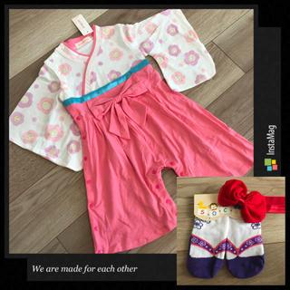 80cm❤︎袴ロンパースピンク&草履風靴下紫9-12cm&ヘアバンド 女の(和服/着物)