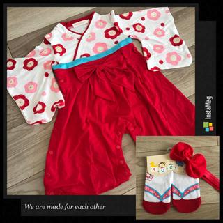 70cm❤︎袴ロンパース赤&草履風靴下赤9-12cm&リボンヘアバンド(和服/着物)