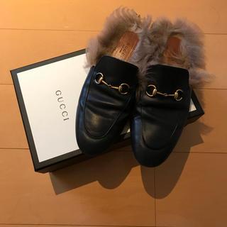 グッチ(Gucci)のGUCCI  princetown 39 ブラック スリッパ(ローファー/革靴)