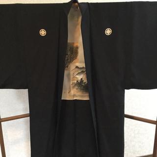 男羽織  男着物  家紋  リメイク  羽裏(着物)
