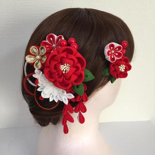 #227 ちりめん髪飾り 鶴/2個セット 紅白(ヘアアクセサリー)