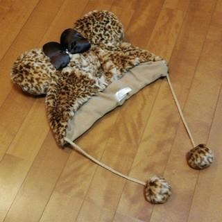 Disney - ミニー♡豹柄モコモコ帽子♪