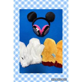 ディズニー(Disney)の【ディズニー】ふわふわ☆ミッキーとプーさんの手袋&耳あて(イヤーマフ)