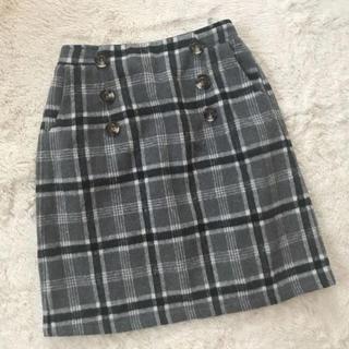 アントマリーズ(Aunt Marie's)のグレーチェック柄タイトスカート(ひざ丈スカート)