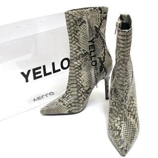 イエローブーツ(Yellow boots)のYELLO KAA SHORT サイドジップ パイソン柄 ショートブーツ (ブーツ)