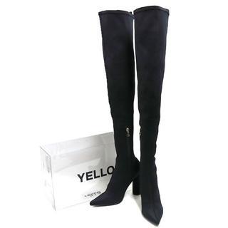 イエローブーツ(Yellow boots)のYELLO TOKYO BLACK LONG ニーハイブーツ M ブラック(ブーツ)