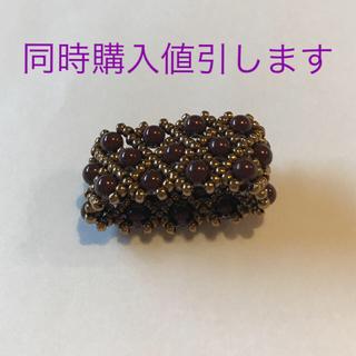 スカーフ留め ビーズ ゴールド ワインレッド ハンドメイド(スカーフ)
