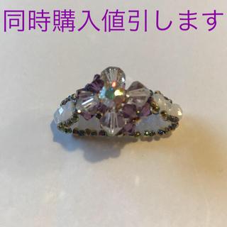 ビーズ スカーフ留め フラワーモチーフ パープル 紫 ハンドメイド(スカーフ)