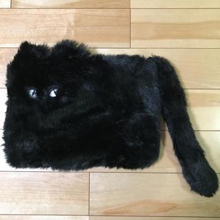 ニュールック(New Look)のニュールック*エコファー*ネコ*クラッチバッグ*ブラック*黒猫*イギリス(クラッチバッグ)